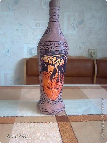 Декор предметов Декупаж Бутылка Греция Бисер Бутылки стеклянные Гуашь Скорлупа яичная фото 7