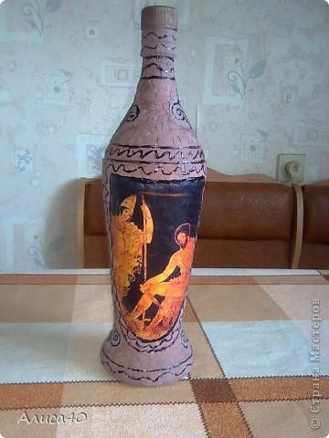 Декор предметов Декупаж Бутылка Греция Бисер Бутылки стеклянные Гуашь Скорлупа яичная фото 9