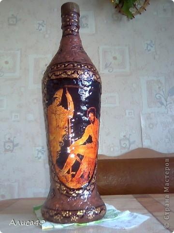 Декор предметов Декупаж Бутылка Греция Бисер Бутылки стеклянные Гуашь Скорлупа яичная фото 11