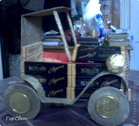 Сделала на день рождения коллеге такой вот автомобиль. Как получилось- судить вам. фото 1