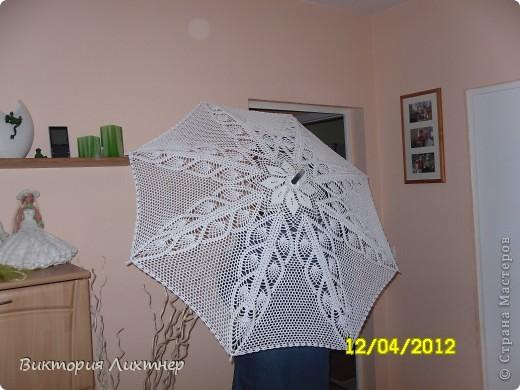Моя мечта- вязанный зонт. Очень давно мечтала связать, но всё как- то времени не хватало. И вот моя мечта осуществилась, мой зонтик готов. Нитки хлопок100%, крючок N3. фото 2