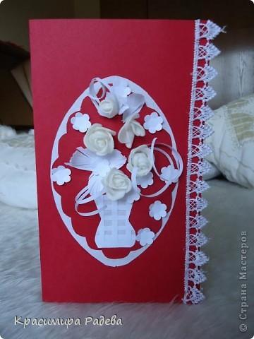 Здравейте на всички в Страна Мастеров!!! Предлагам на вашето внимание картичките , които изработих за рождените дни на колежките си. Приятно разглеждане .Първата е в червено и бяло. фото 2