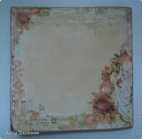 Всем Здравствуйте!!! Хочу показать открытки, которые сделала, на мой взгляд, из очень красивой бумаги для скрапбукинга. Из 1 листа бумаги получаются 2 совершенно разные открытки (на фото 1 и 5). Эту открытку подарила маме на День рождения. Цвет немного искажён.  фото 4
