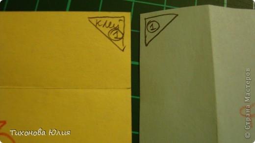 Так выглядит первый разворот альбома. Для работы понадобится 2 листа бумаги для пастели 21*21 см разных цветов. 8 фотографий 10*10см. Клей или узкий двусторонний скотч. фото 11
