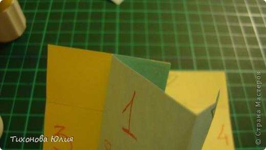 Так выглядит первый разворот альбома. Для работы понадобится 2 листа бумаги для пастели 21*21 см разных цветов. 8 фотографий 10*10см. Клей или узкий двусторонний скотч. фото 12