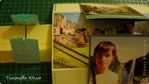 Так выглядит первый разворот альбома. Для работы понадобится 2 листа бумаги для пастели 21*21 см разных цветов. 8 фотографий 10*10см. Клей или узкий двусторонний скотч. фото 15
