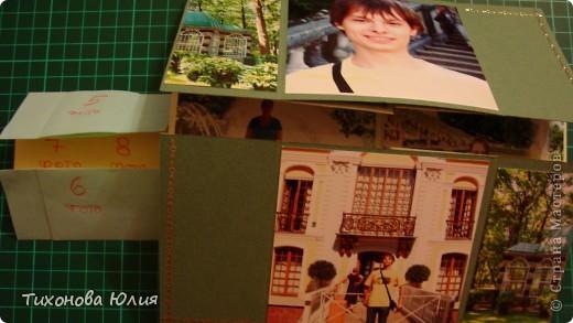 Так выглядит первый разворот альбома. Для работы понадобится 2 листа бумаги для пастели 21*21 см разных цветов. 8 фотографий 10*10см. Клей или узкий двусторонний скотч. фото 18