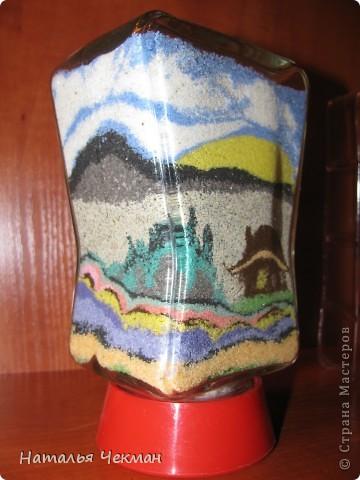 Такие пейзажи получаются у меня из цветной соли и кофе фото 9