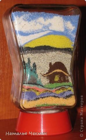 Такие пейзажи получаются у меня из цветной соли и кофе фото 8