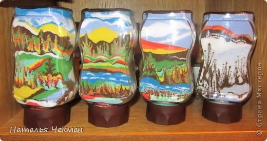Такие пейзажи получаются у меня из цветной соли и кофе фото 1