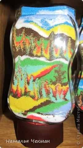 Такие пейзажи получаются у меня из цветной соли и кофе фото 5