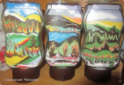 Такие пейзажи получаются у меня из цветной соли и кофе фото 3