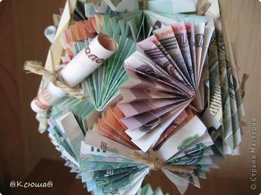Первое денежное дерево. Как крутить купюры подсмотрела на просторах СМ. Спасибо вам мастерицы за ваши МК и идеи! фото 4