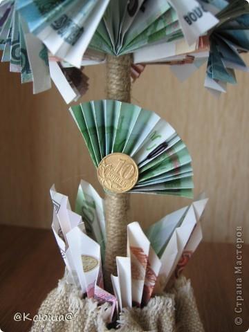Первое денежное дерево. Как крутить купюры подсмотрела на просторах СМ. Спасибо вам мастерицы за ваши МК и идеи! фото 3