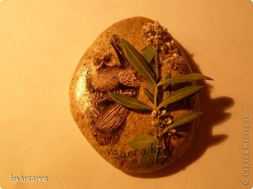 работа на камне.Апликация из журнала ,клей ПВА,сухие растения  фото 1