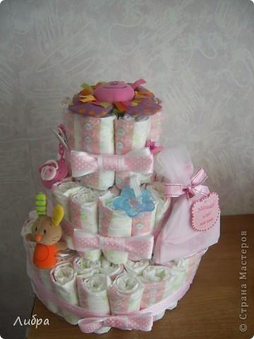 Новый тортик из памперсов, для очеровательной малышки. фото 2