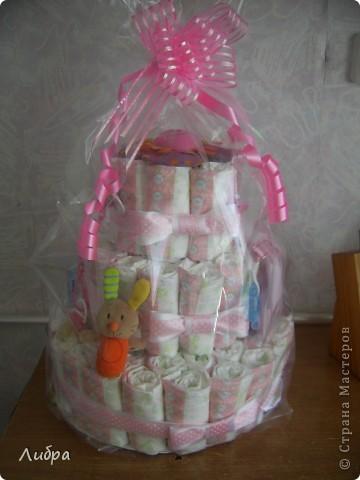 Новый тортик из памперсов, для очеровательной малышки. фото 3