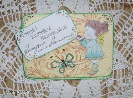 Всем Здравствуйте!!! Хочу показать открытки, которые сделала, на мой взгляд, из очень красивой бумаги для скрапбукинга. Из 1 листа бумаги получаются 2 совершенно разные открытки (на фото 1 и 5). Эту открытку подарила маме на День рождения. Цвет немного искажён.  фото 12