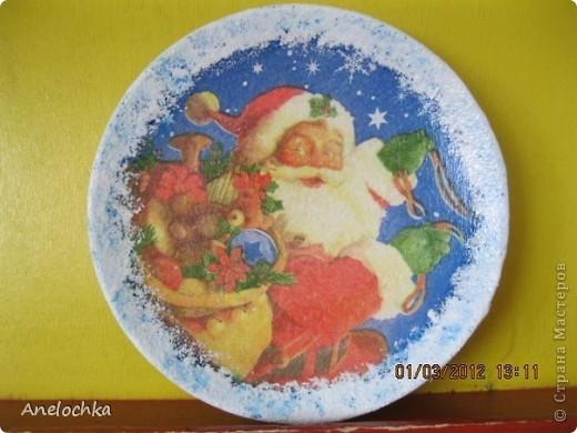 Новогодняя тарелка. Первая работа.