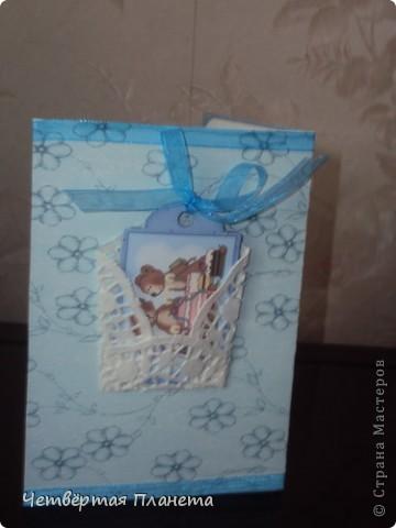 Открытка,поздравление с новорожденным.Размер 10*15 фото 2