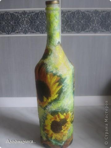 Бутылочка под подсолнечное масло, декупаж на гофррированой бумаге. фото 1
