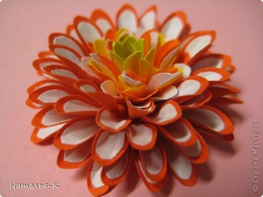 Приглашаю всех, (кому интересно) на мою рабочую ,,кухню,, Предлагаю вам рецепт ,,Георгин из дырокольных цветов,, фото 8