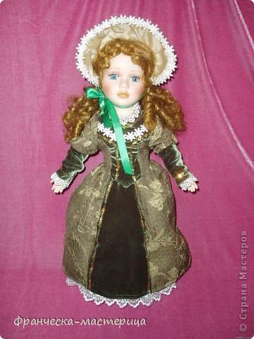 Костюм для куклы Вероники. Платье, подъюбник, фартук, пинетки. фото 2