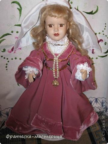 Костюм для куклы Вероники. Платье, подъюбник, фартук, пинетки. фото 3