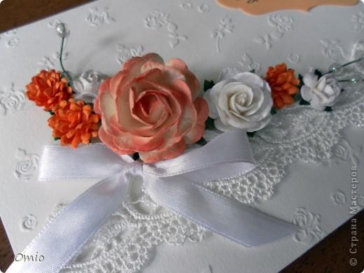 Добрый вечер Страна! девчоночки, вот моя обещанная открыточка к свадебному букету... Делала первый раз, поэтому подглядела идею у Юлички Бровко. Юль спасибо! фото 2