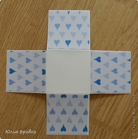 Приветик!!! Сегодня покажу обещанный МК по коробочкам-сюрпризам или Magic-box!  Итак, начнем... Материалы: - бумага для акварели (у меня основа белая, можно использовать любой цвет); - скрапбумага; - двухсторонний скотч. Материалы для украшения: - бумажная салфетка, - бумажные плоские цветы, - полубусины, - атласная лента и прочие украшения, а также инструменты (фигурные ножницы, фигурные дыроколы и т.д.) фото 7