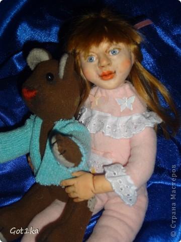 """Куколка из пластики """"Сонет"""", волосы натуральные, человеческие, ручки и ночки и голова из пластики, Тело каркас из проволоки, синтепон. Краска масленная."""