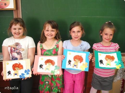 Рыжий, рыжий ... (нужны всего лишь желание и чеснокодавка) Такие портреты появились у нас на продленке. С заданием до конца  справились только девчонки, мальчикам не хватило терпения. фото 6