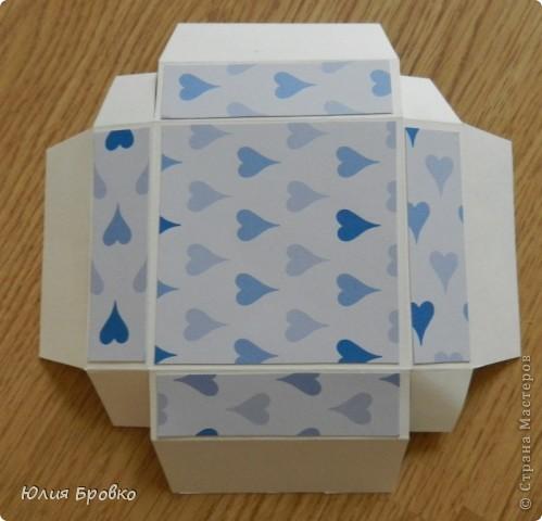 Приветик!!! Сегодня покажу обещанный МК по коробочкам-сюрпризам или Magic-box!  Итак, начнем... Материалы: - бумага для акварели (у меня основа белая, можно использовать любой цвет); - скрапбумага; - двухсторонний скотч. Материалы для украшения: - бумажная салфетка, - бумажные плоские цветы, - полубусины, - атласная лента и прочие украшения, а также инструменты (фигурные ножницы, фигурные дыроколы и т.д.) фото 8