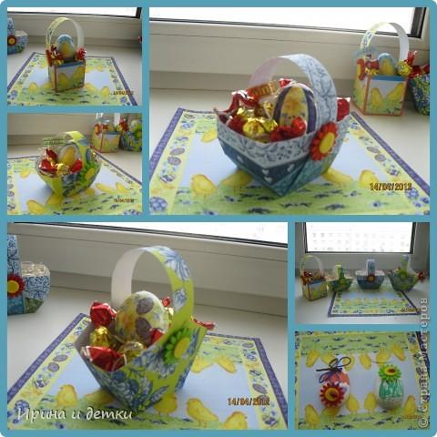 Вдохновившись работами мастериц сайта, сделала с детками вот такие подарочки для родных. Пасхальные наборчики фото 1