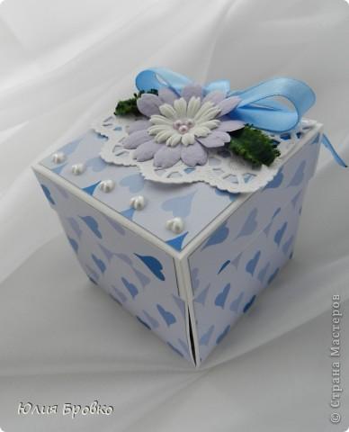 Приветик!!! Сегодня покажу обещанный МК по коробочкам-сюрпризам или Magic-box!  Итак, начнем... Материалы: - бумага для акварели (у меня основа белая, можно использовать любой цвет); - скрапбумага; - двухсторонний скотч. Материалы для украшения: - бумажная салфетка, - бумажные плоские цветы, - полубусины, - атласная лента и прочие украшения, а также инструменты (фигурные ножницы, фигурные дыроколы и т.д.) фото 10