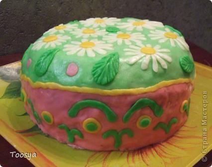 """Доброго времени суток, уважаемые Мастерицы !  Не давало мне покоя любование тортиками, украшенными мастикой. И, наконец, я решилась попробовать.  Назвала """"Улыбка"""", потому что я не могу на него без смеха смотреть :) фото 5"""