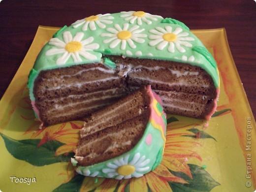 """Доброго времени суток, уважаемые Мастерицы !  Не давало мне покоя любование тортиками, украшенными мастикой. И, наконец, я решилась попробовать.  Назвала """"Улыбка"""", потому что я не могу на него без смеха смотреть :) фото 6"""