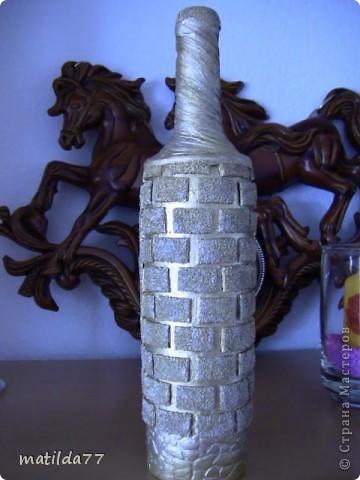 Бутылка -каминчик/Мастер-класс подсмотрела, где не помню,извините фото 2