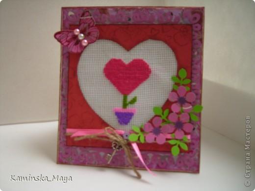 """Я продолжаю участвовать в совместнике от Лены  http://lenusichek.blogspot.com/2011/12/blog-post_24.html """"Дела сердеШные"""" Задание на май: вышить сердечко.  Такая вот открытка. фото 1"""
