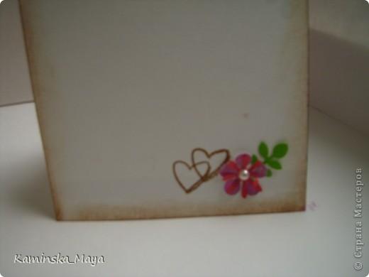"""Я продолжаю участвовать в совместнике от Лены  http://lenusichek.blogspot.com/2011/12/blog-post_24.html """"Дела сердеШные"""" Задание на май: вышить сердечко.  Такая вот открытка. фото 2"""