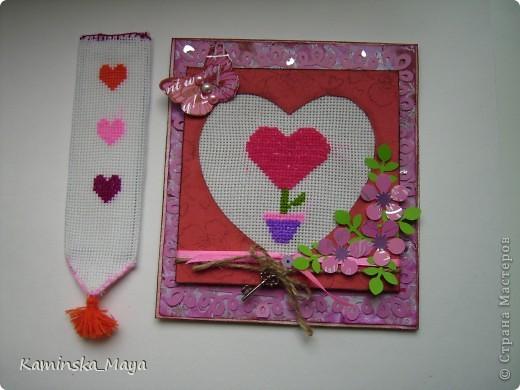 """Я продолжаю участвовать в совместнике от Лены  http://lenusichek.blogspot.com/2011/12/blog-post_24.html """"Дела сердеШные"""" Задание на май: вышить сердечко.  Такая вот открытка. фото 4"""