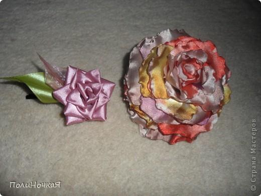 Вот моя роза на заказ.Первый раз делала  розу из ткани. Ткань очень быстро загорается. Намучалась я основательно. фото 3