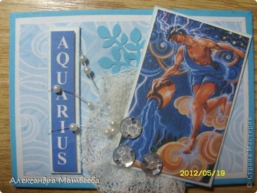 """Попросили меня сделать две открыточки для """"Водолея"""". Уж, не знаю на день рождения или просто так будут дариться открытки. До дня рождения вроде далеко))). Сказали: """"Без надписей и пожеланий, просто для водолея и все!"""". Вот что получилось! фото 8"""