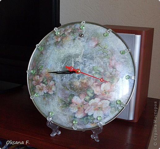 Что-то пробило меня на декупаж. Сделались часы из стеклянной крышки (Олечка (Рыжуля), я обещание выполнила))  фото 2