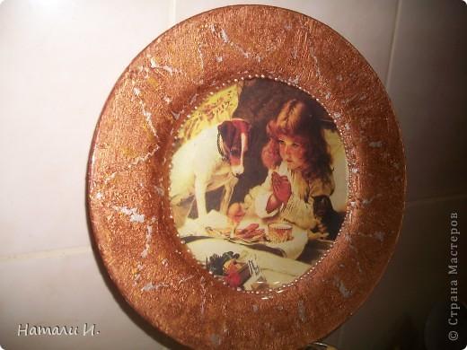 Первая тарелочка с обратным декупажем фото 1