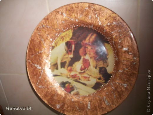 Первая тарелочка с обратным декупажем фото 3