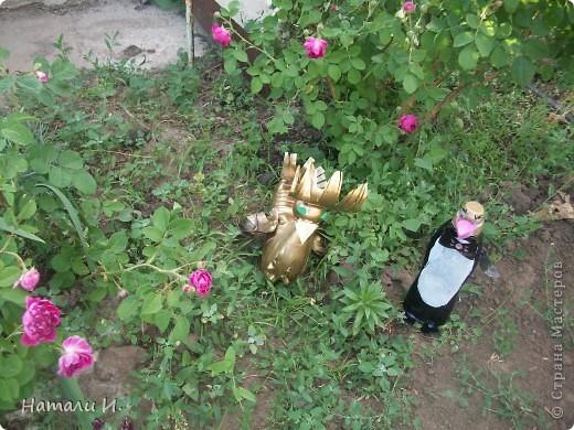 жар-птица из пластиковых бутылок и пластикового шарика фото 3