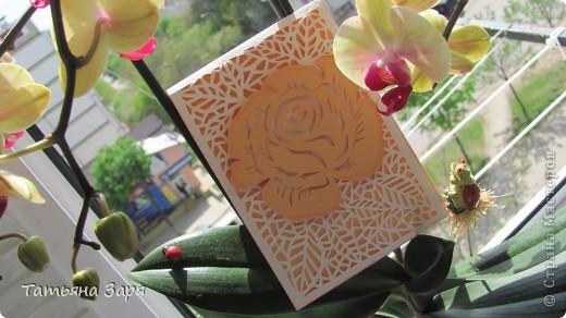 Это первая моя открытка вытынанка. Когда я над ней корпела то получала огромное удовольствие от этого. Вытынанка это моя любовь с первого взгляда. фото 1