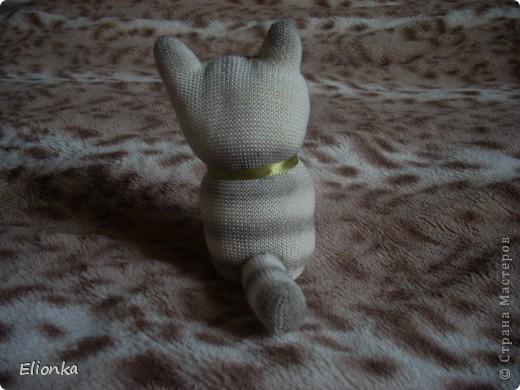 """Наконец нашла (благодаря подруге) """"техническую"""" перчатку без всяких там нашлепок из резины и прочей лабуды (безусловно полезной при работе в саду, но мне абсолютно не нужной). И родилась из этой перчатки маленькая кошка Мяушка. А в компанию ей сшился """"носочный"""" зайка- попрыгайка. Доча говорит, что заяц хулиганистый и ловелас, а по-моему просто ошалевший от теплых денёчков. Лето, ах, лето.... фото 4"""