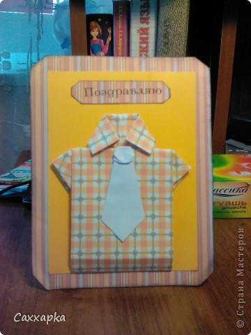 Мои очередные открытки!  Слева рубашечка оригами (ниже ссылка на МК) Эта открытка будет подарена моему дедушке на день рождение. Справа платьице (открытка) и небольшое колье.  Эта открытка подарена моей бабушке (просто так :)) фото 3
